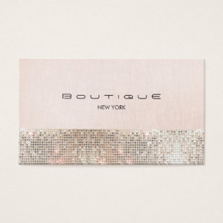 Faux Sequins and Linen Cute Pink Chic Boutique 2 Business Card