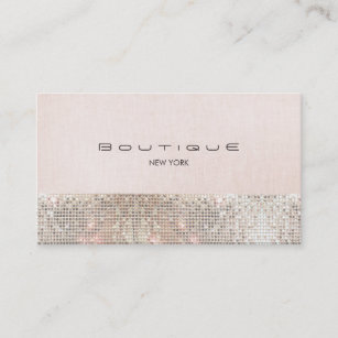 Linen business cards profile cards zazzle ca faux sequins and linen cute pink chic boutique 2 business card reheart Image collections