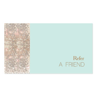 FAUX Sequins Beauty Salon Refer A Friend Turquoise Pack Of Standard Business Cards