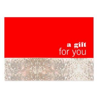 Faux Sequins Hair Salon Holiday Gift Certificate Large Business Cards (Pack Of 100)