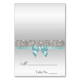 Faux Sequins Light Teal Blue Bow Place Card Table Cards