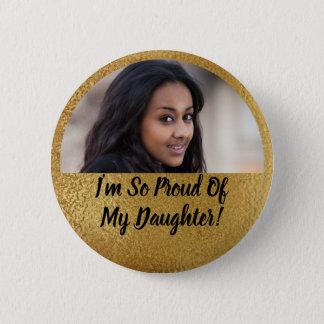 Faux Shimmer Gold Proud Parent Graduation Photo 2 Inch Round Button