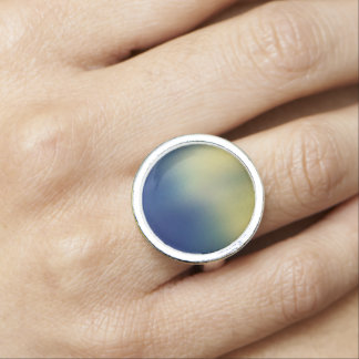 Faux Silk Effect Design-Blue Yellow Ring