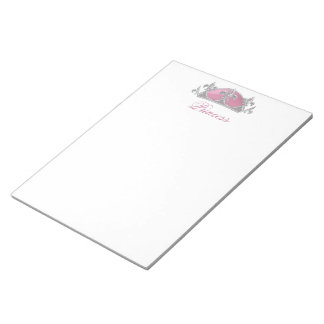Faux Silver and Pink Diamonds Crown Notepad