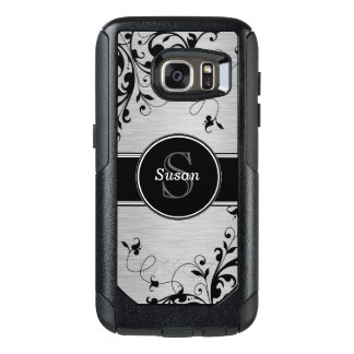 Faux Silver Black Floral Swirls Personalized OtterBox Samsung Galaxy S7 Case