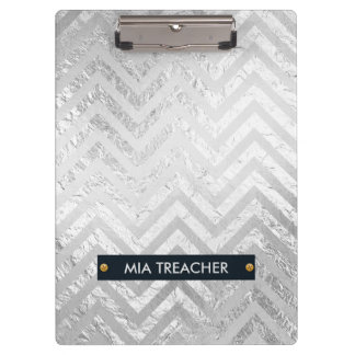Faux Silver Foil and White Chevrons Clipboard