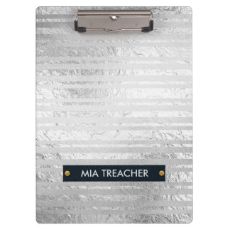 Faux Silver Foil and White Stripes Clipboard