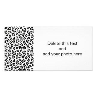 Faux Silver Foil Black Leopard Print Pattern Photo Card
