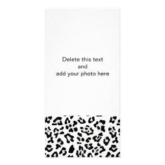 Faux Silver Foil Black Leopard Print Pattern Picture Card