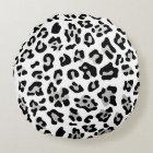 Faux Silver Foil Black Leopard Print Pattern Round Pillow