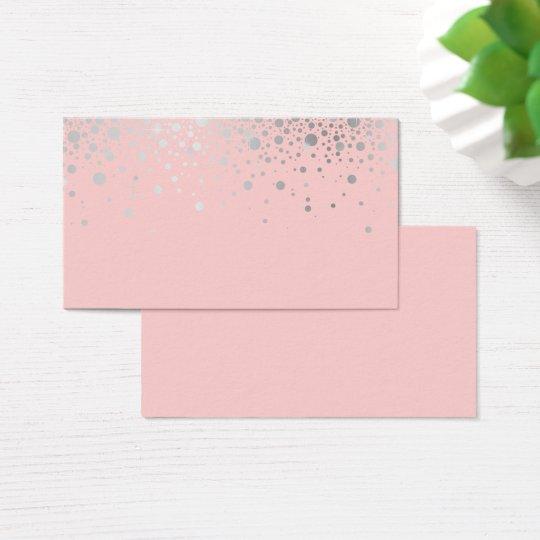 Faux Silver Foil Confetti Blush Blank Horizontal Business Card