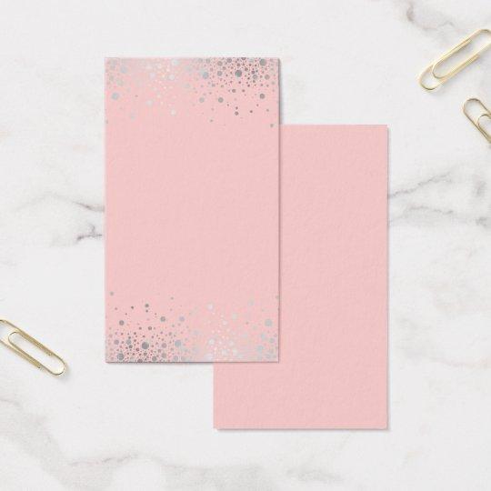 Faux Silver Foil Confetti Blush Blank Vertical Business Card