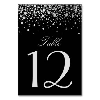 Faux Silver Foil Confetti Dots Black Table Number
