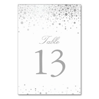 Faux Silver Foil Confetti Dots Table Number