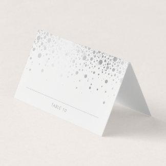 Faux Silver Foil Confetti Dots Wedding Place Cards