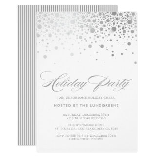 Faux Silver Foil Confetti Holiday Party Card