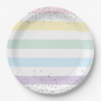 Faux Silver Foil Confetti & Pastel Rainbow Stripes Paper Plate