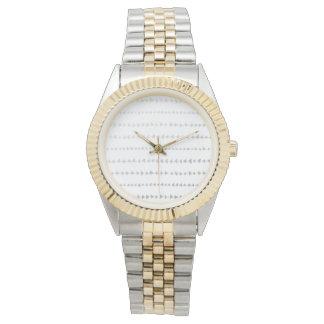 Faux Silver Foil White Arrows Pattern Watch