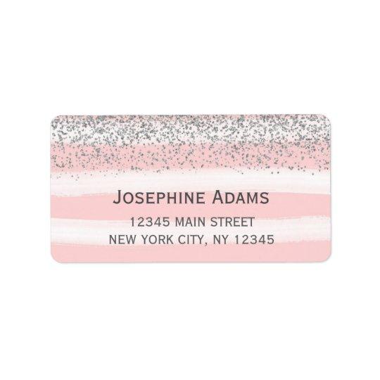 Faux Silver Glitter Address Labels