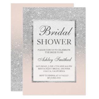 Faux silver glitter blush elegant Bridal shower Card