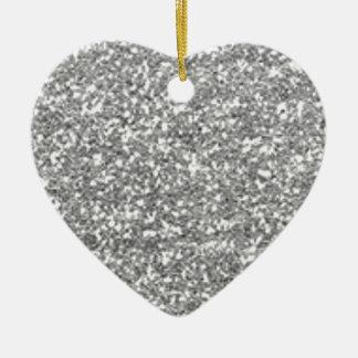 Faux Silver Glitter Ceramic Heart Ornament