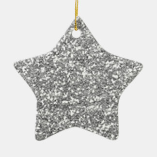 Faux Silver Glitter Ceramic Star Ornament