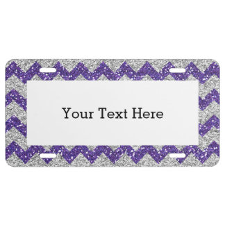 Faux Silver Glitter Chevron Pattern Purple Glitter License Plate