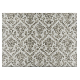 Faux Silver Glitter Damask Floral Pattern Kitchen Boards