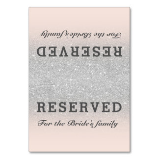 Faux silver glitter pink blush ombre reserved table card