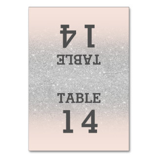 Faux silver glitter pink blush ombre table number