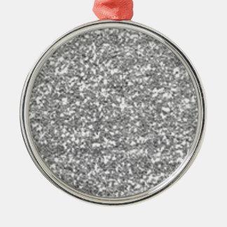 Faux Silver Glitter Silver-Colored Round Ornament