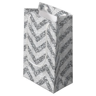 Faux Silver glitter small gift bag