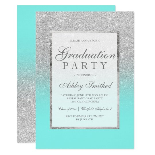 Faux silver glitter teal Graduation party Card