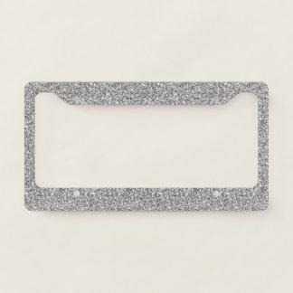 Faux Silver Glitters. License Plate Frame