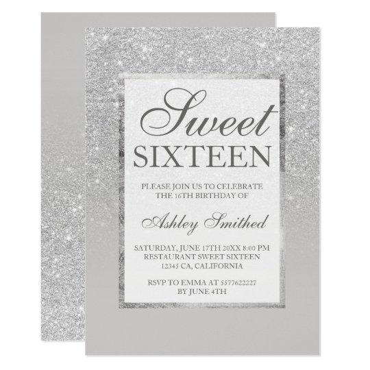Faux silver grey glitter elegant chic Sweet 16 Card
