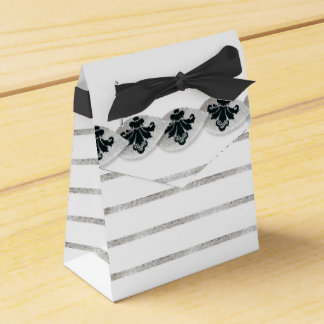Faux Silver Leaf Damask Striped Favor Box Black