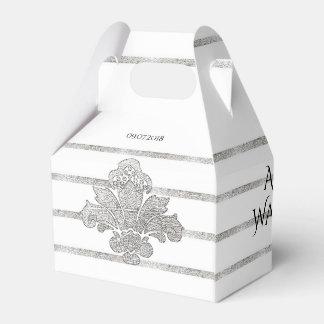 Faux Silver Leaf Wedding Personalized Favor Box