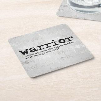 Faux Silver Metallic Warrior Definition Square Paper Coaster