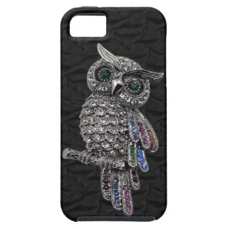 Faux Silver Owl & Jewels Black iPhone 5 Case For The iPhone 5