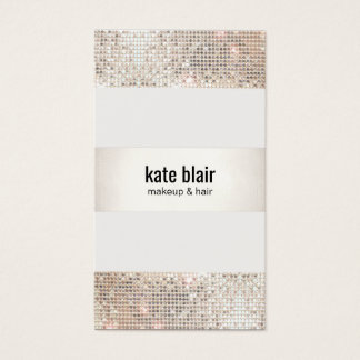 Faux Silver Sequin Stripes Beauty Salon Business Card
