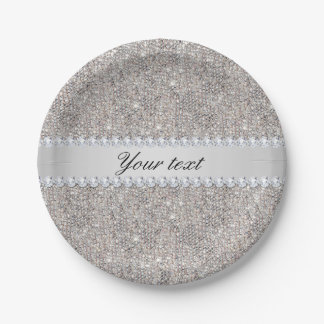 Faux Silver Sequins and Diamonds 7 Inch Paper Plate