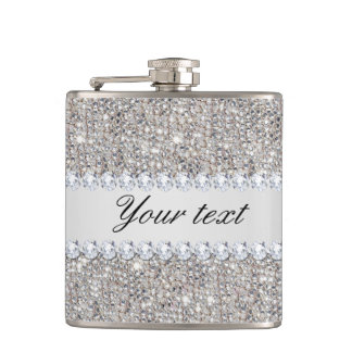 Faux Silver Sequins and Diamonds Flasks