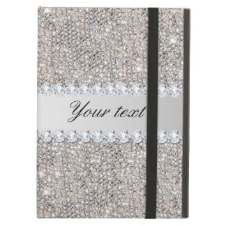 Faux Silver Sequins and Diamonds iPad Air Cover
