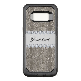 Faux Silver Sequins and Diamonds OtterBox Commuter Samsung Galaxy S8 Case