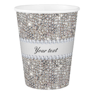 Faux Silver Sequins and Diamonds Paper Cup