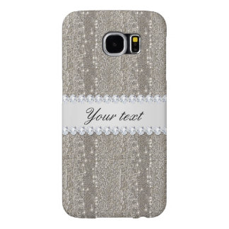 Faux Silver Sequins and Diamonds Samsung Galaxy S6 Cases