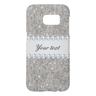 Faux Silver Sequins and Diamonds Samsung Galaxy S7 Case