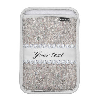 Faux Silver Sequins and Diamonds Sleeve For iPad Mini