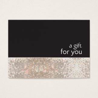 Faux Silver Sequins Black Salon Gift Certificate