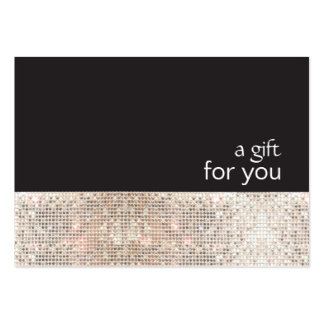 Faux Silver Sequins Black Salon Gift Certificate Large Business Card